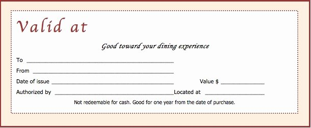 Restaurant Gift Certificates Templates Luxury Download Restaurant Gift Certificate Templates Wikidownload