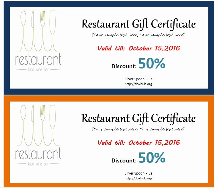 Restaurant Gift Certificates Templates Unique 13 Free Sample Restaurant Voucher Templates Printable Samples