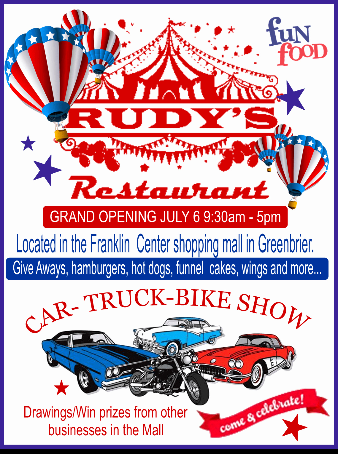 Restaurant Grand Opening Flyer Beautiful Rudy's Restaurant In Greenbrier – Grand Opening & Car Show July 6