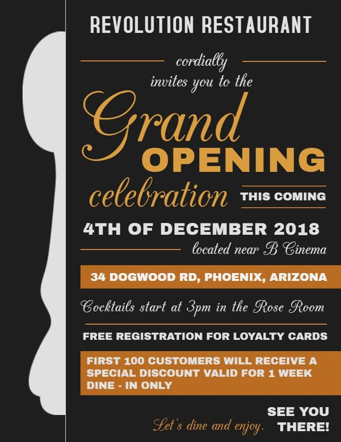Restaurant Grand Opening Invitation Inspirational Restaurant Small Business Grand Opening Flyer Design Template Black