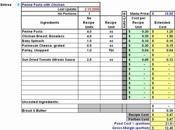 Restaurant Inventory Management Excel Fresh Restaurant Inventory and Menu Costing Workbook