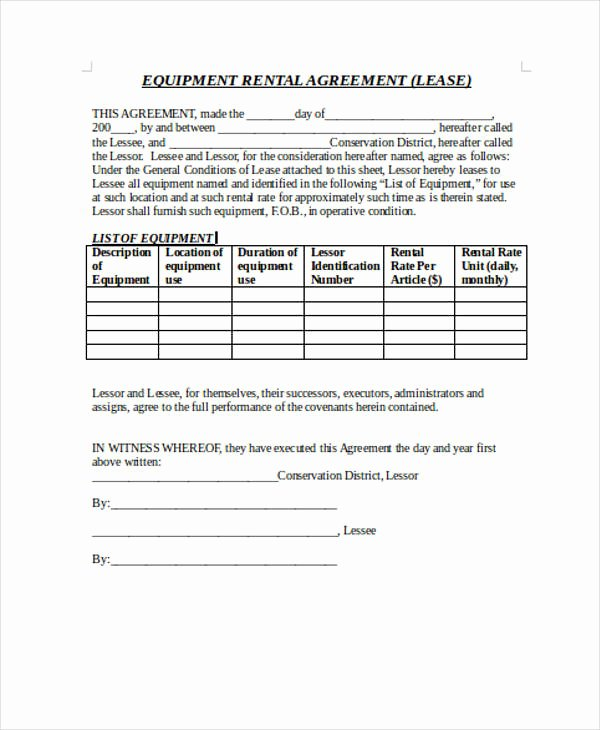 Restaurant Lease Agreement Pdf Inspirational Free 39 Sample Lease Agreement forms In Pdf