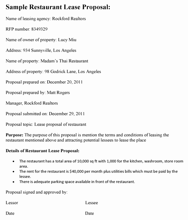 Restaurant Lease Agreement Pdf Inspirational Restaurant Lease Proposal Template