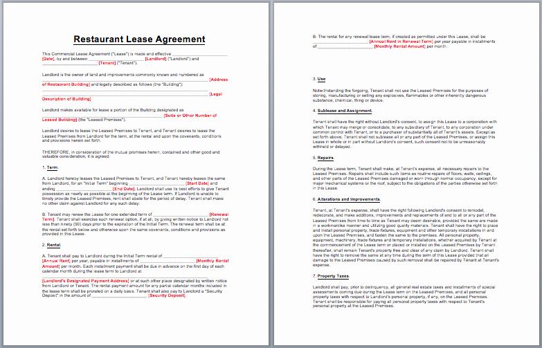 Restaurant Lease Agreement Pdf Lovely Restaurant Lease Agreement Template Business Templates Pinterest