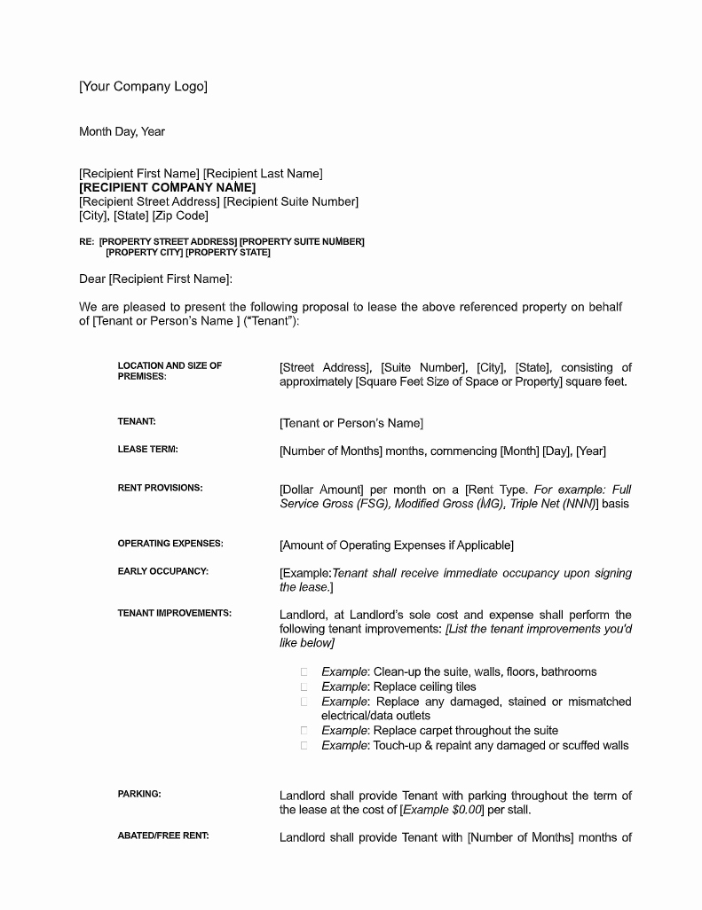 Restaurant Lease Agreement Pdf Lovely Sample Letter Of Intent for Mercial Lease [free Download]