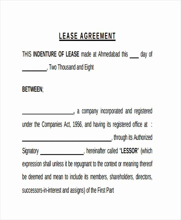 Restaurant Lease Agreement Pdf Unique Free 39 Sample Lease Agreement forms In Pdf