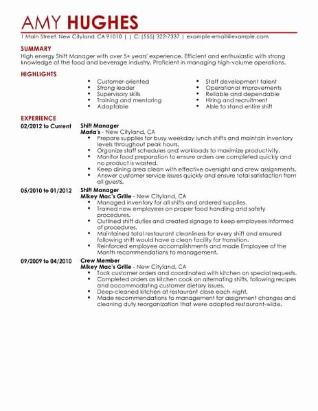 Restaurant Manager Resume Samples Pdf Beautiful Best Restaurant Shift Manager Resume Example
