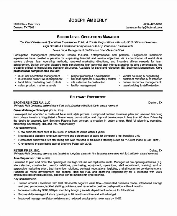 Restaurant Manager Resume Samples Pdf Best Of Sample Restaurant Resume 10 Examples In Pdf Word