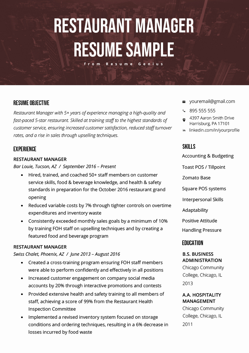 Restaurant Manager Resume Samples Pdf Lovely Restaurant Manager Resume Samples