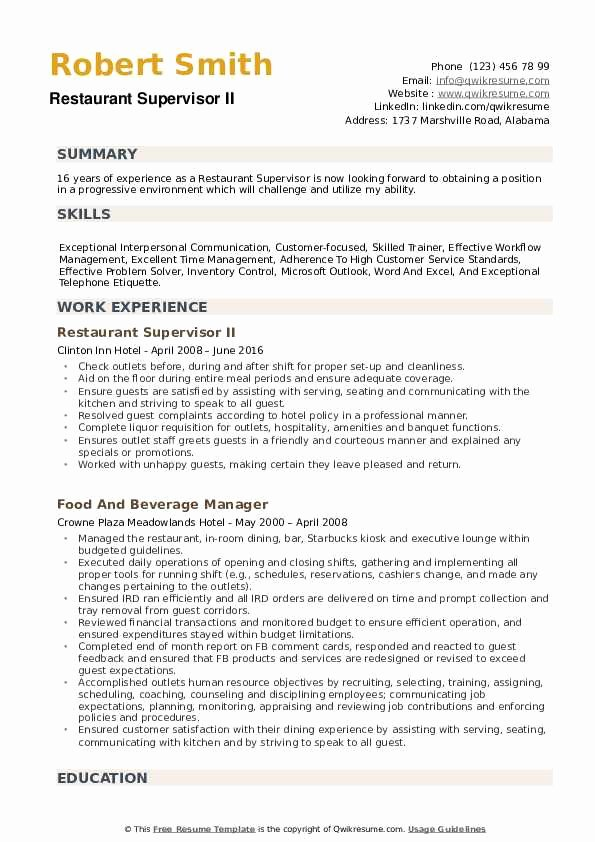 Restaurant Manager Resume Samples Pdf Lovely Restaurant Supervisor Resume Samples