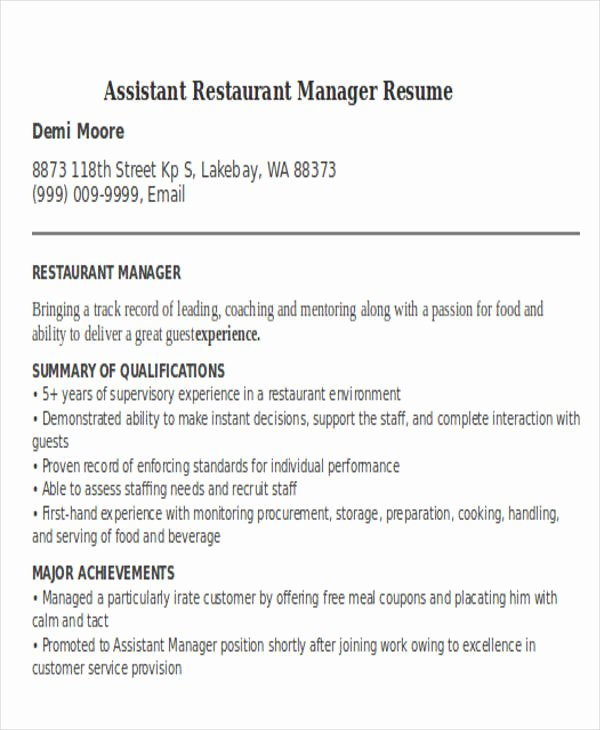 Restaurant Manager Resume Samples Pdf New 38 Manager Resume Templates Pdf Doc