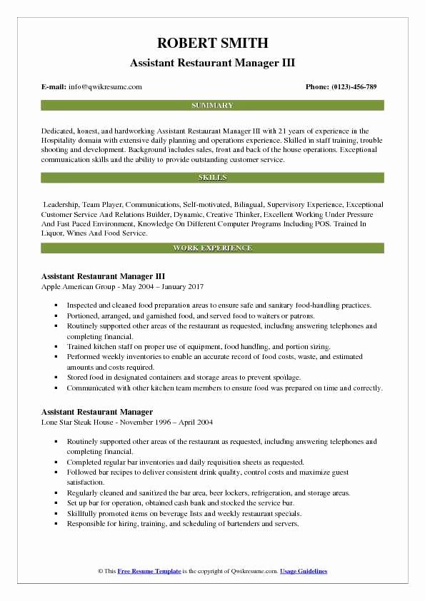 Restaurant Manager Resume Samples Pdf New assistant Restaurant Manager Resume Samples