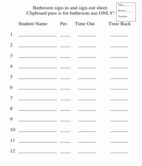 Restroom Sign Out Sheet Inspirational Free 5 Bathroom Sign Out Sheets In Pdf