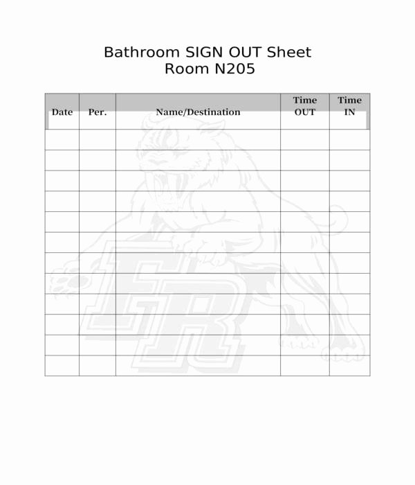 Restroom Sign Out Sheet New Free 5 Bathroom Sign Out Sheets In Pdf
