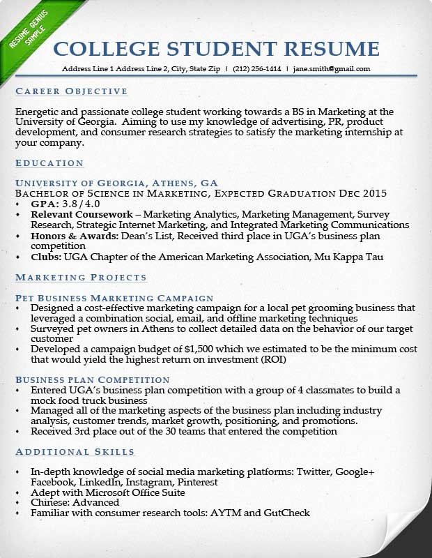 Resume for College Freshmen Beautiful Internship Resume Samples & Writing Guide