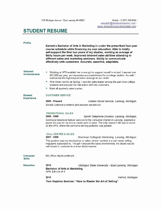 Resume for College Freshmen Beautiful Student Resume Templates
