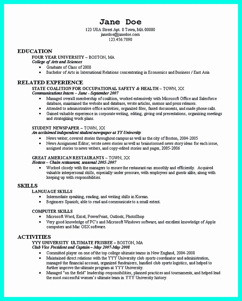 Resume for College Freshmen Beautiful the Perfect College Resume Template to Get A Job