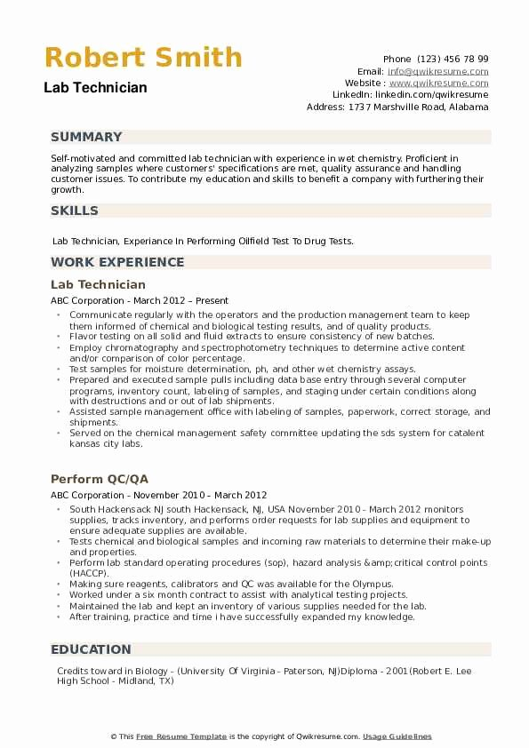 Resume for Lab Technician Best Of Lab Technician Resume Samples