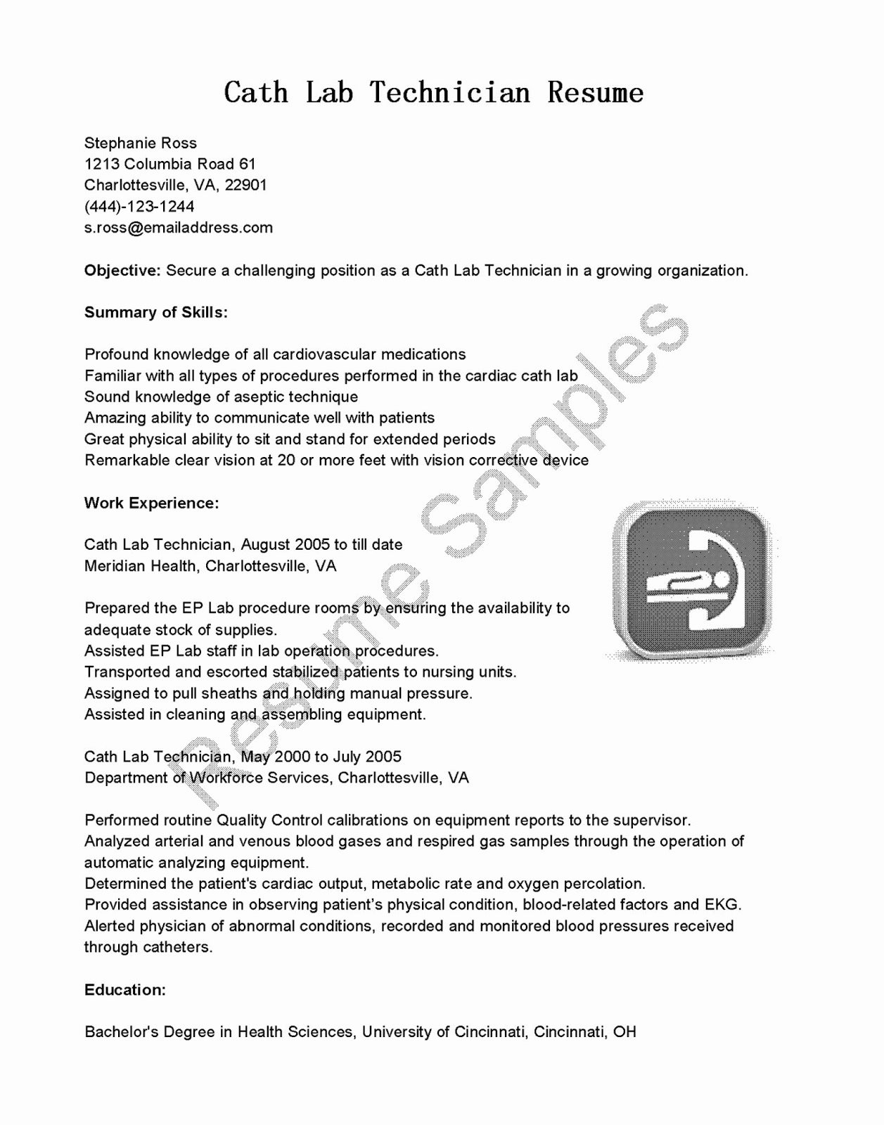 Resume for Lab Technician Elegant Resume Samples Cath Lab Technician Resume Sample