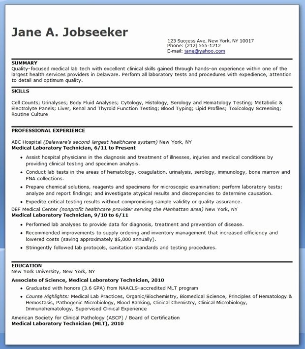Resume for Lab Technician Fresh Medical Laboratory Technician Resume Sample Resume Examples Professional