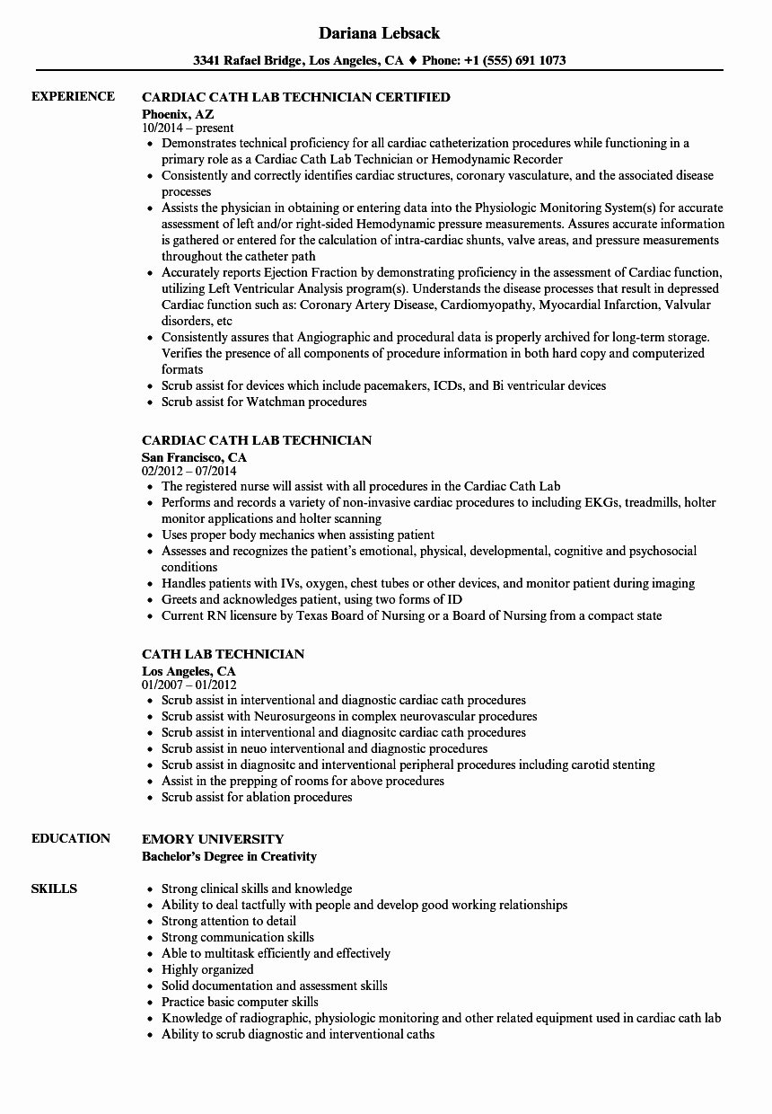Resume for Lab Technician Inspirational Cath Lab Technician Resume Samples