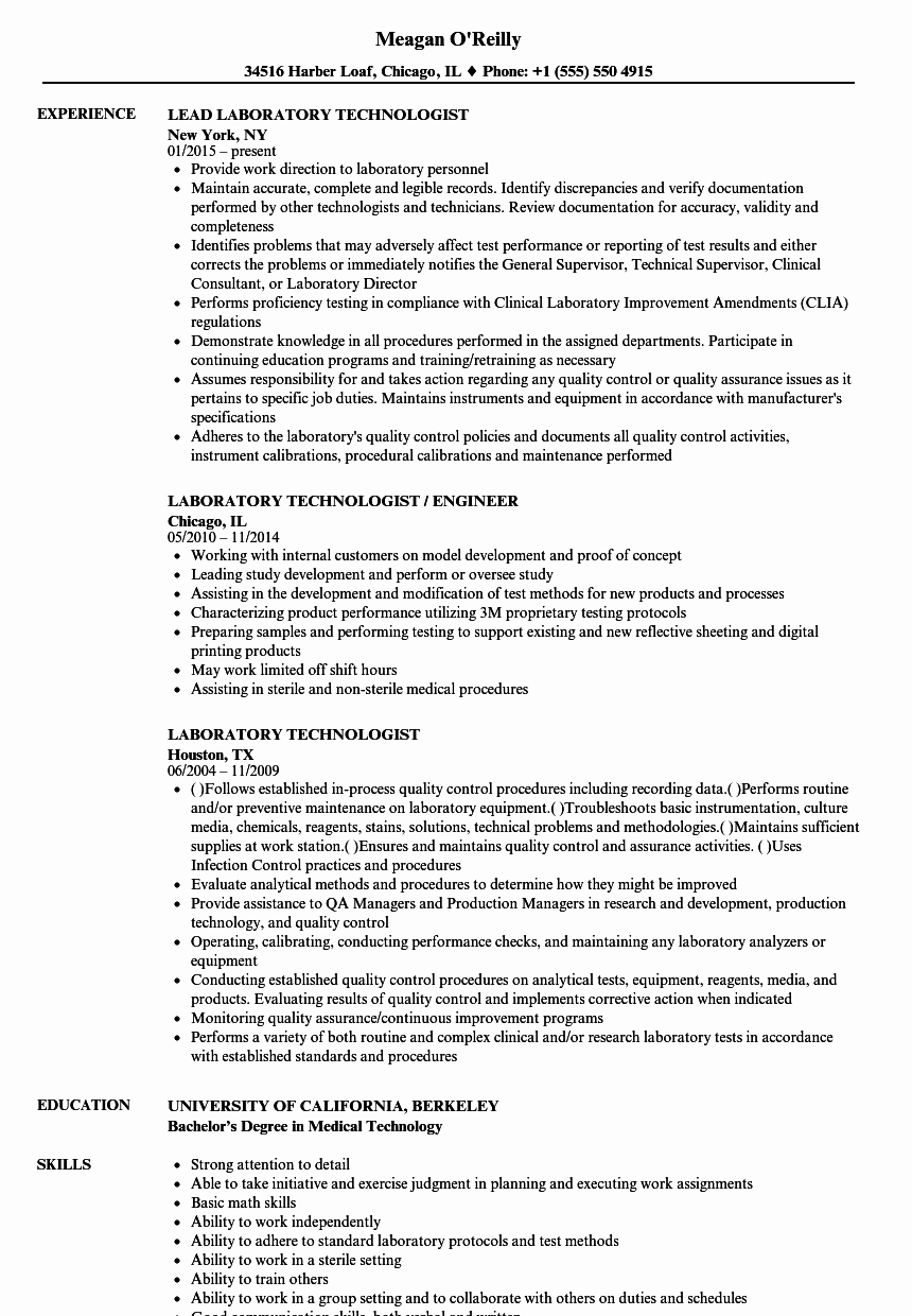Resume for Lab Technician Lovely Laboratory Technologist Resume Samples