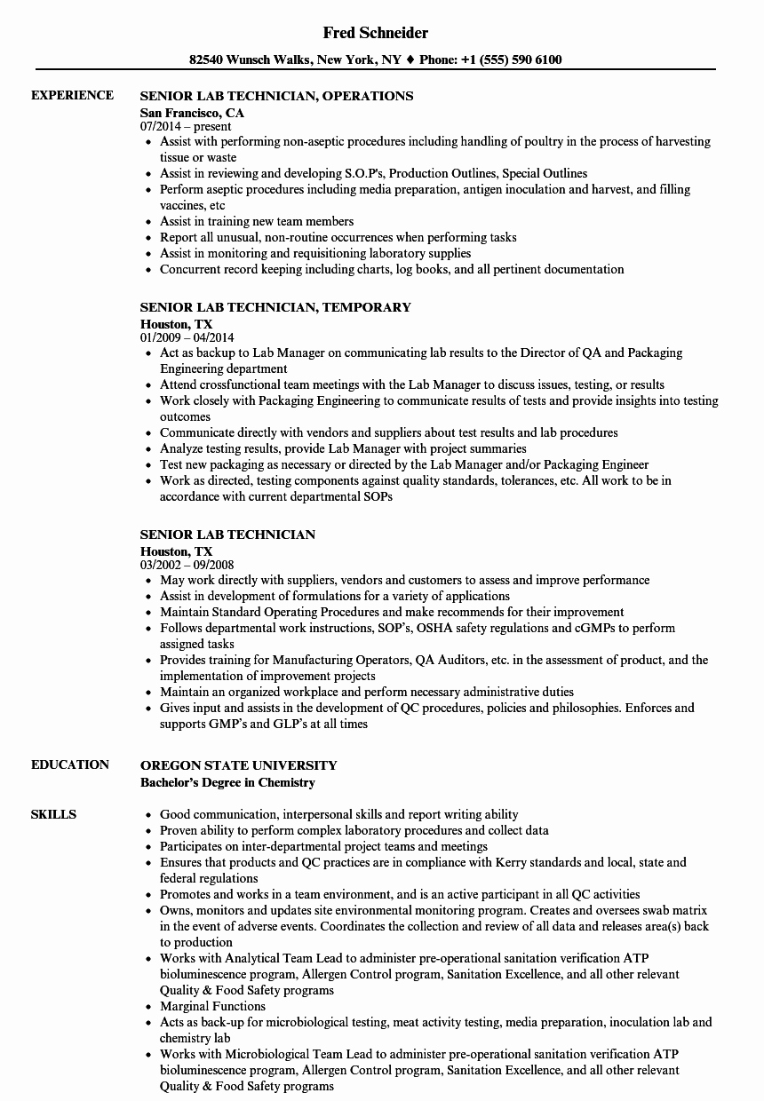 Resume for Lab Technician Lovely Senior Lab Technician Resume Samples