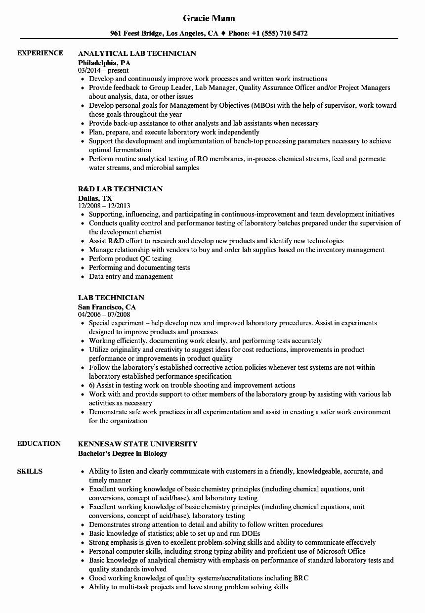 Resume for Lab Technician Unique Lab Technician Resume