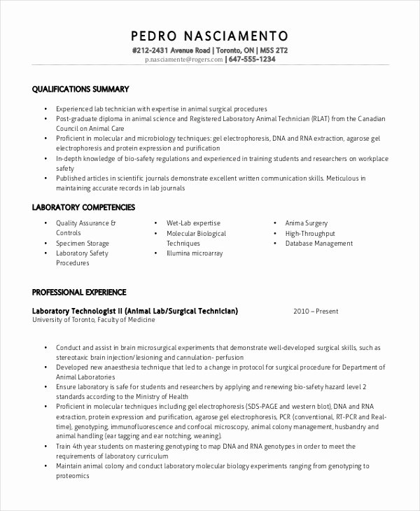 Resume for Lab Technician Unique Resume for Lab Technician Resume Sample