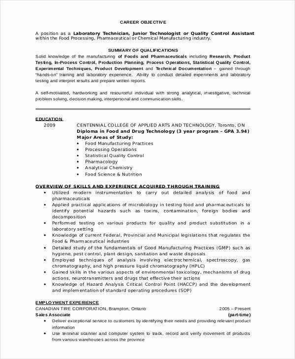 Resume for Laboratory Technician Beautiful Lab Technician Resume