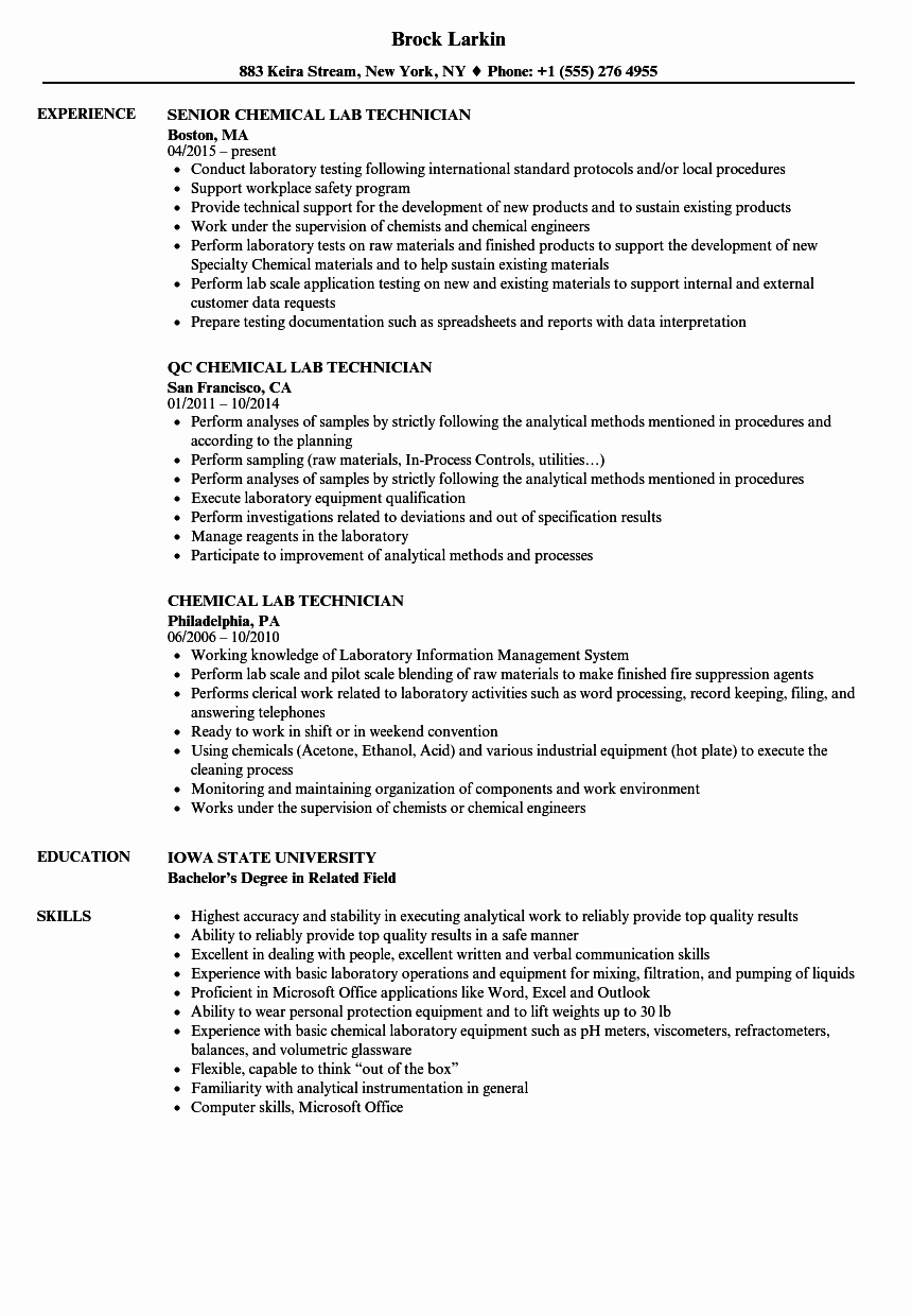 Resume for Laboratory Technician Elegant Chemical Lab Technician Resume Samples