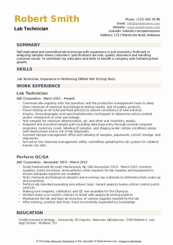 Resume for Laboratory Technician Elegant Lab Technician Resume Samples