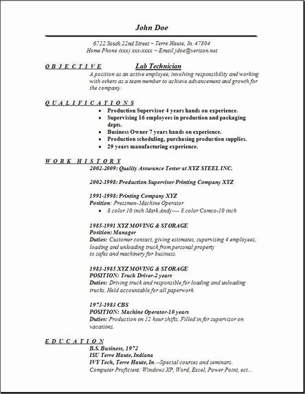 Resume for Laboratory Technician Lovely Lab Technician Resume Occupational Examples Samples Free Edit with Word