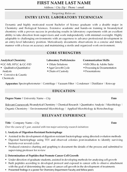 Resume for Laboratory Technician Luxury Technician Resume format