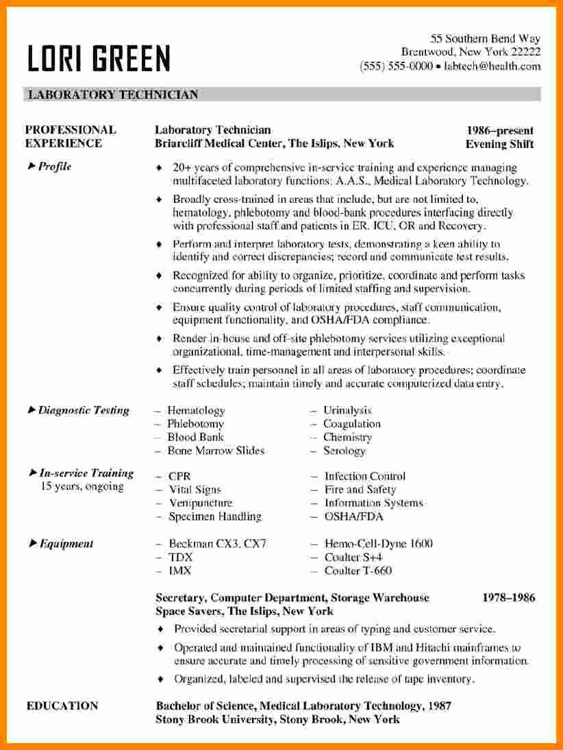 Resume for Laboratory Technician New 5 Cv Laboratory Technician