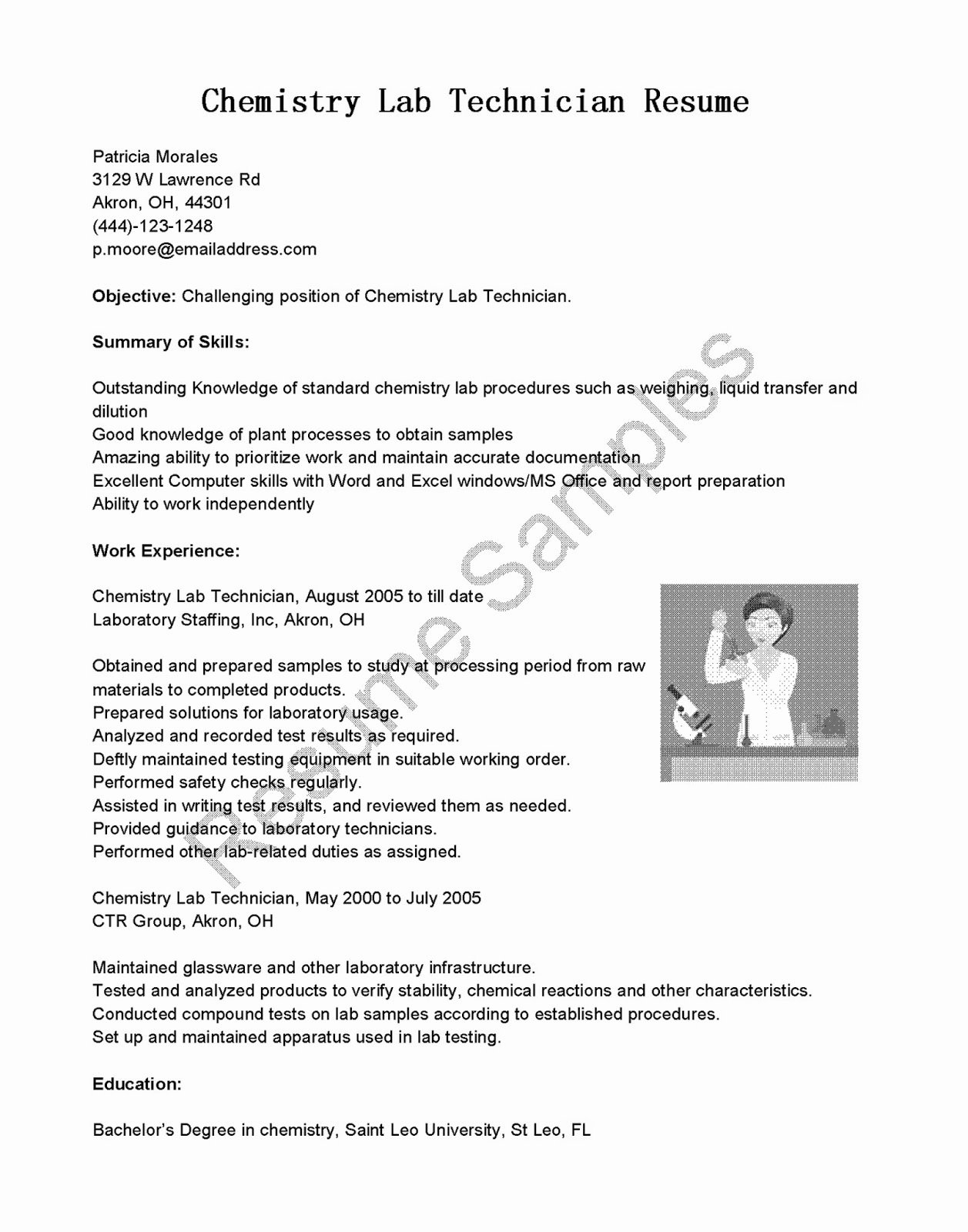 Resume for Laboratory Technician New Resume Samples Chemistry Lab Technician Resume Sample