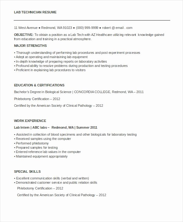 Resume for Laboratory Technician New Technician Resume Template 8 Free Word Pdf Documents Download