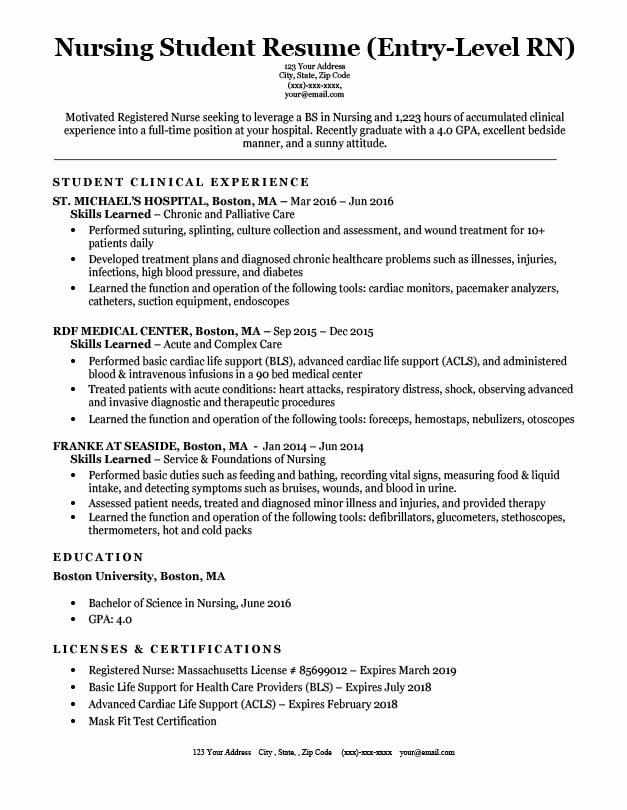 Resume for Nursing Student Beautiful Entry Level Nursing Student Resume Sample & Tips
