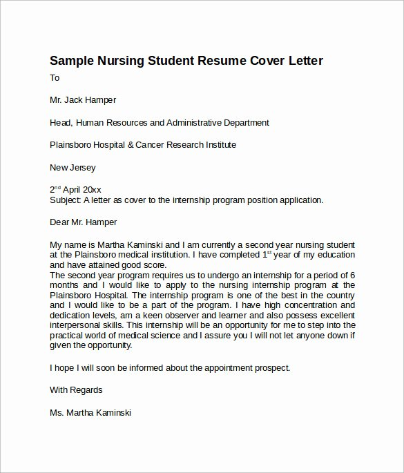 Resume for Nursing Student Elegant Sample Nursing Cover Letter Template 8 Download Free Documents In Pdf Word
