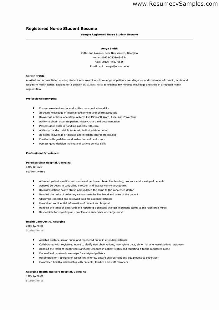 Resume for Nursing Student Elegant Student Nurse Resume