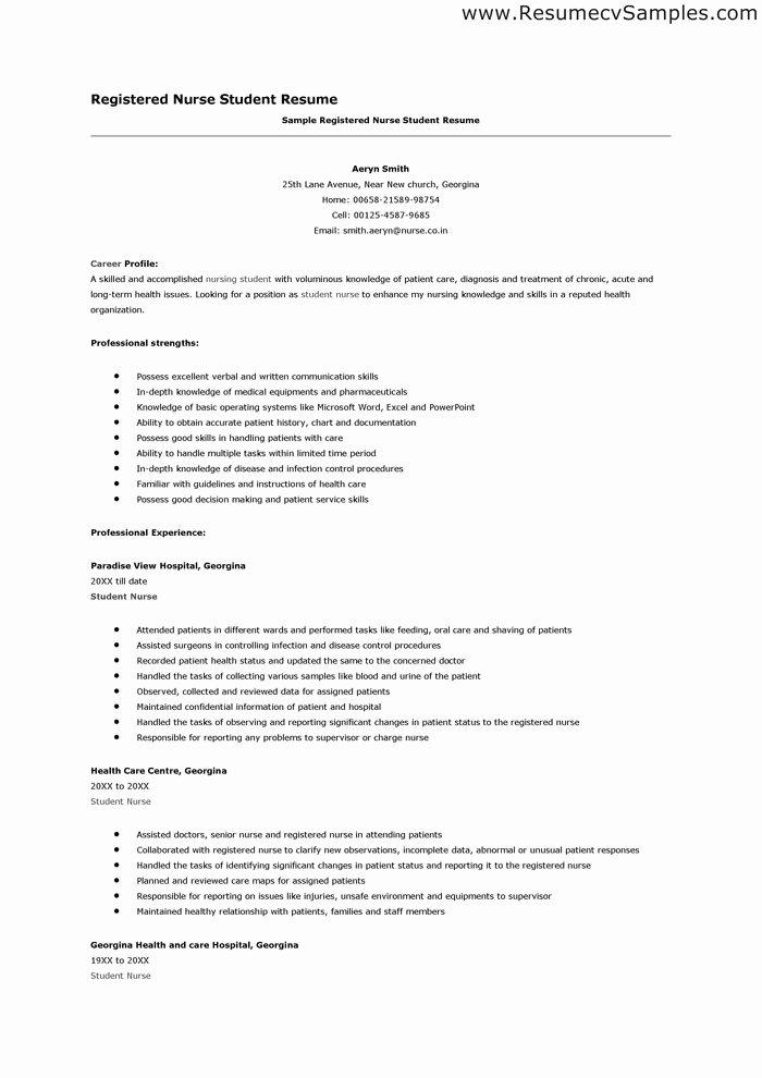 Resume for Nursing Student Elegant Student Nurse Resume