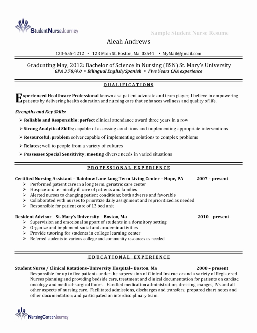 Resume for Nursing Student Elegant Telemetry Nurse Resume Edit Fill Sign Line