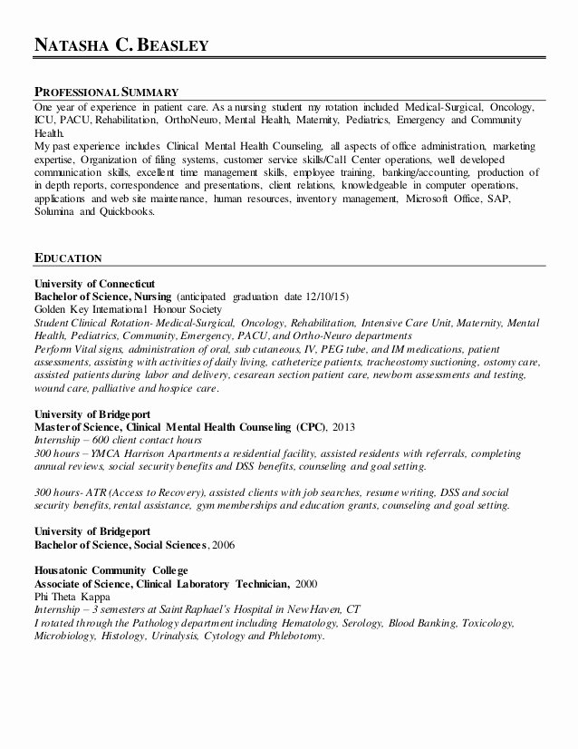 Resume for Nursing Student Fresh Linkedin Nursing Resume