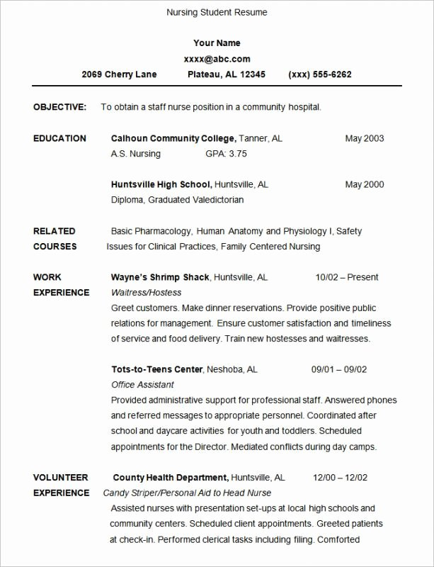 Resume for Nursing Student Fresh Nursing Student Resume