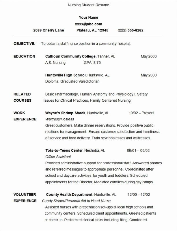 Resume for Nursing Student Fresh Nursing Student Resume