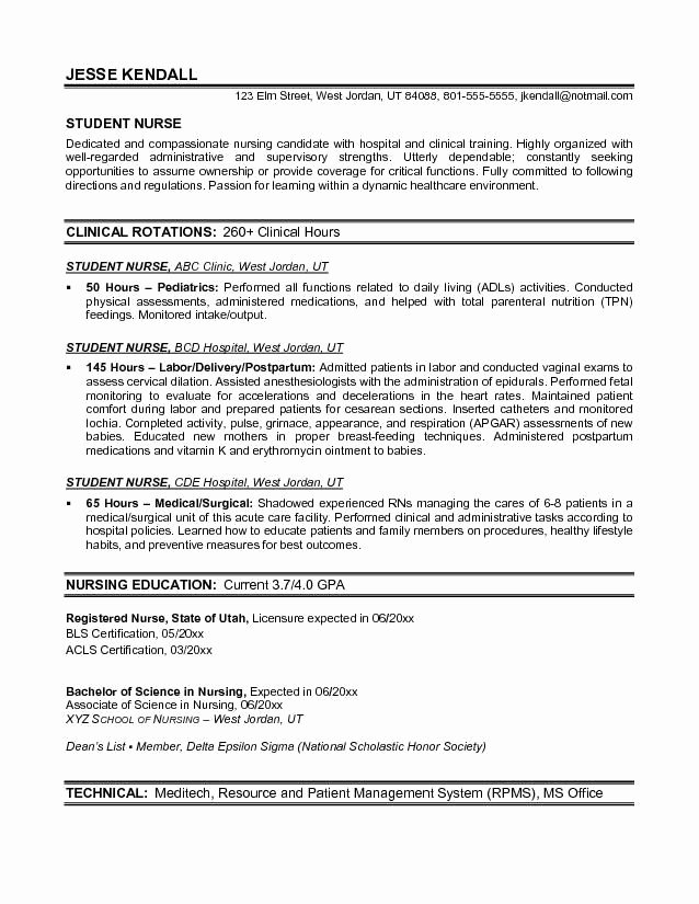 Resume for Nursing Student New Example Student Nurse Resume Free Sample Nursing School Pinterest