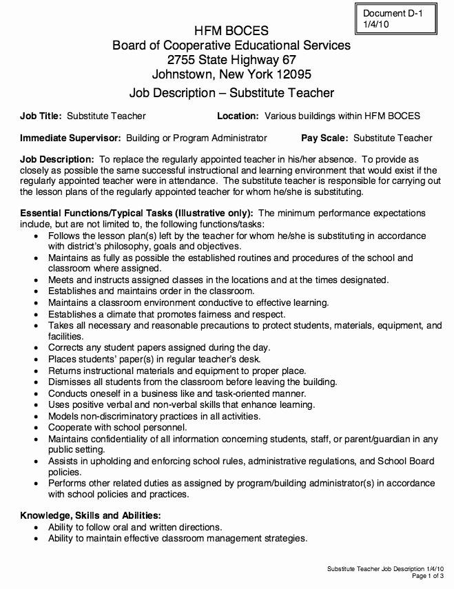 Resume for Substitute Teacher Best Of Substitute Teacher Job Description Resume Teacher Job