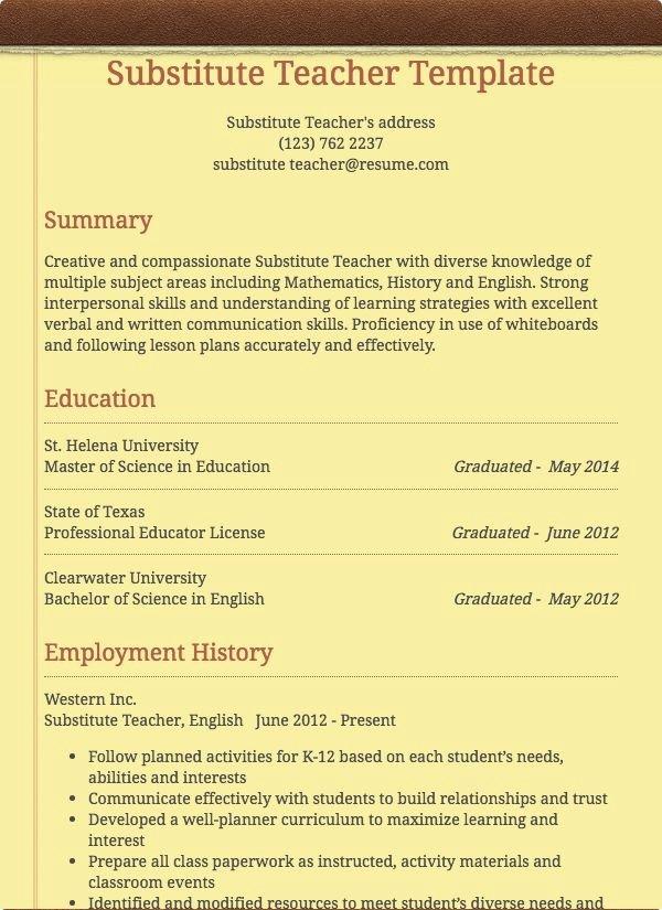 Resume for Substitute Teacher Elegant Substitute Teacher Resume Sample