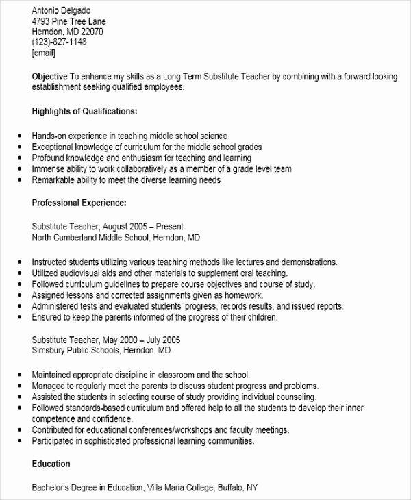 Resume for Substitute Teacher Fresh 42 Teacher Resume formats