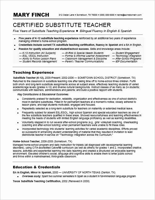 Resume for Substitute Teacher Fresh Substitute Teacher Resume Sample
